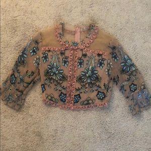 For Love and Lemons lace and mesh crop top size S